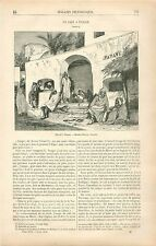 Musulmans Café Maure à Tanger Maroc Islam GRAVURE ANTIQUE OLD PRINT 1878