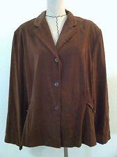 Courtenay 18W woman plus 2 pc pant suit set blazer pant poly suede brown size