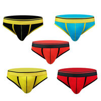 Men 100% Cotton Briefs Thong Underwear Tangas G-String T-back Panty Low Rise