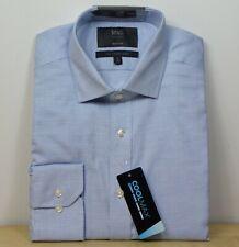 "M&s Coolmax Regular Fit Langarm Travel Shirt ~ Gr. 15"" ~ Blau Mix"