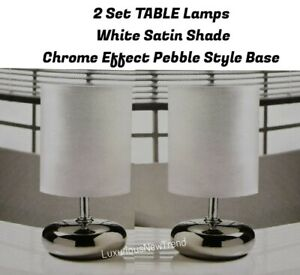 2x White & Chrome Wired Table Lamp Light Bedside Bedroom Lamp Hallway Dine Decor