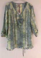 Womens M&S Summer Cotton Top Ladies Per Una V Neck Floral Shirt Top Size 18
