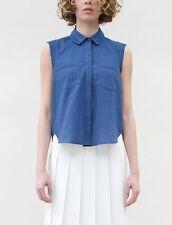 Creatures of Comfort Natalie Indigo Blue Double Collar Sleeveless Blouse Top S
