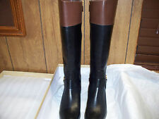 Michael Kors FULTON HARNESS Black Mocha Leather Fashion Knee Boots NIB ~ US 7