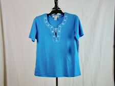 CATHY DANIELS Turquoise Short Sleeve Embellished Top NWT - Size S Small