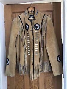 Mens Suede Leather Cowboy Native American Fringe Style Beaded Jacket, Coat. 3XL