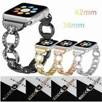 Rhinestones D Stainless Steel Watch Band for Apple Watch Series 4/3/2/1 38/42mm