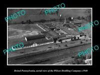 OLD LARGE HISTORIC PHOTO OF BRISTOL PENNSYLVANIA THE WILSON DISTILLERY c1940