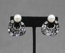 Philippe Ferrandis Paris Faux Pearl & Rhinestone Clip Earrings
