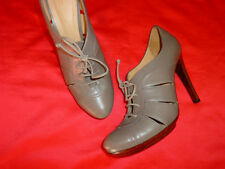 CHIC MINT BOTTEGA VENETA Almond Toe Leather Lace Up HEELS PLATFORM BOOTIES 39/9