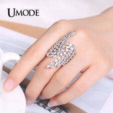 Angel Wings Crystal Rings for Women Jewelry White Gold Plated CZ Big Open Ring
