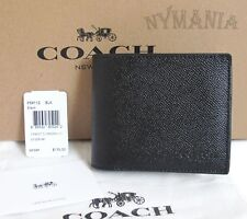 New COACH F59112 Mens 3-IN-1 Compact ID Crossgrain Leather Wallet Black GIFT BOX