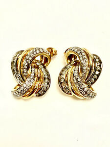 FASHION EARRINGS, YELLOW GOLD OVER SILVER, LAB GROWN DIAMONDS, 9/10CT TW.