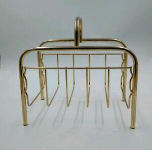 Mid Century Modern Magazine Newspaper Rack Brass Gold Metal Wire Design Vintage