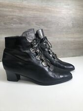 Vintage Lotus Lace Up Ankle Boots Victorian Style Black Pewter Gold  Steampunk 5