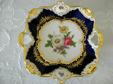 "8"" VG GERMAN BAVARIA AK KAISER COBALT BLUE GOLD PORCELAN HP PLATTER TRAY RARE #1"