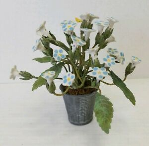 Vintage Lead Basket with Porcelain Forget Me Not Flowers Butterfly Metal Leaves