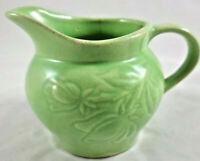 Vintage McCoy Pottery Matte Green Floral Embossed Creamer/Pitcher - 1939