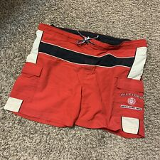 Vintage 90s Tommy Hilfiger Spell Out Crest Red Swim Shorts bathing Suit sz Large