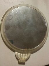 """024 Vintage 6.5"""" Round Deck Vanity Hand Held Mirror Clear Plastic Double Sided"""