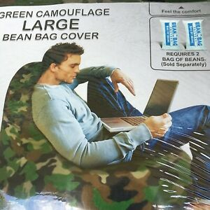 Bean Bag Factory Large Bean Bag, Green Camouflage Cover Bedroom Mens Cave