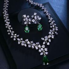 Green Emerald & Lab Diamond Pendant Necklace Earrings Set 18K White Gold Finish