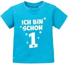Baby T-Shirt kurzarm Spruch Ich bin schon 1 - 1. Geburtstag Baby Kinder