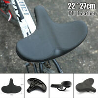 PU Leather Bike Seat Wide Cushion Cover For Large Wide Bicycle Saddle Pad Black
