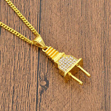 Iced Out Gold Plug Pendant Cuban Chain Bling Shine Gangster Necklace U.K SELLER