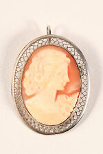 Vintage Beau Sterling Silver Filigree Carved Shell Cameo Brooch Pin Pendant 70s