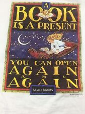 Vintage T Shirt A Book Is A Present You Can Opend Again And Again Size XLarge
