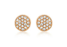9ct Rose Gold 5mm Round Pave Set Diamond Stud Earrings