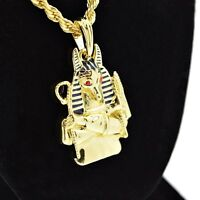 """Egyptian Anubis Bust 24"""" Chain Gold Tone Pendant Red Eyes Hip Hop Rope Necklace"""