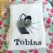White cotton Kids Personalised flannels Embroidered Gift