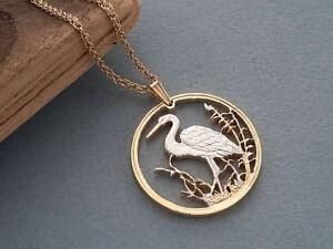 "Egret Pendant & Necklace Russian 1 Ruble Handcut coin 1 1/4"" in Diam. ( # 494 )"