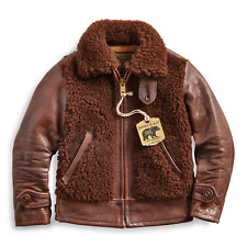 RRL Ralph Lauren Vintage Inspired Mini Shearling Bomber Leather Jacket