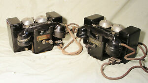 """1940s PAIR of ARMY FIELD TELEPHONES """"TYPE F MARK11"""" BOTH in GOOD WORKING CONDT"""