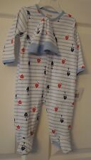 052a83f37d Little Me Boys One Piece Footed Sleeper and Hat Sailboats Size 6 M