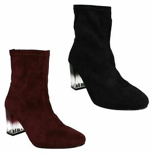 F5R0542 LADIES SPOT ON CASUAL HIGH BLOCK HEEL ZIP UP WINTER ANKLE BOOTS SHOES