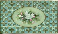 VINTAGE CHRISTMAS PEACE DOVE ORNAMENT PINE BOUQUET MEDIEVAL DESIGN GREETING CARD
