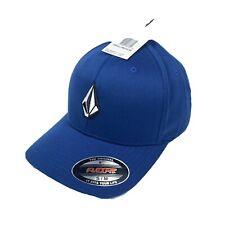 Volcom Flexfit Men's Blue Hat Basball Cap Black White Logo S-M Surf