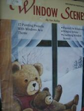 Window Scenes Painting Book By Sue Bailey-Teddy Bears, Cats, Birdhouses