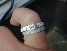 New Old Stock Diamond Engagement Wedding Ring Set-14kt White gold-Dia in Band