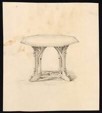 Dessin au crayon d'un meuble table style renaissance