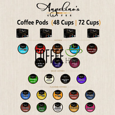 Angelino Flavored Coffee Pods K Cups 48 OR 72 Count Capsules lot Medium Dark Mix