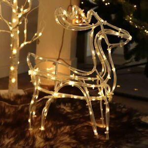 Rentier Figur Deko LED beleuchtet 35cm batteriebetrieben Weihnachten außen Timer