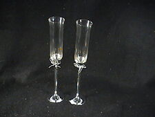 Pair Vera Wang Crystal Wedding Toasting Flutes Glasses