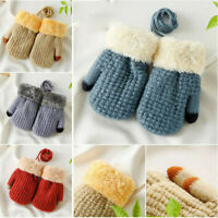 Winter Warm Newborn Baby Boy Girl Thick Fur Gloves Mittens with Neck String KP