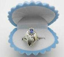Vintage Solid 18k Gold Blue Spinel & White Topaz Ring 7.3 grams size 6