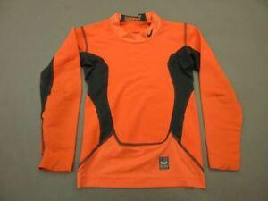 Nike Pro Combat Size XS/6-7 Boys Orange Athletic Long Sleeve Fitted T-Shirt T634